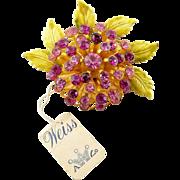 WEISS Pink Enamel & Rhinestones Flower Pin - Original Tag, Exc. Cond.