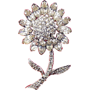 1960's WEISS Rhinestone Daisy Flower with Stem Pin