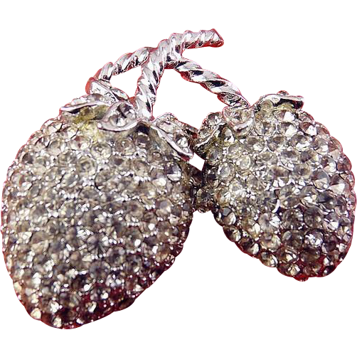 WEISS Rhinestone Pave Strawberries Pin