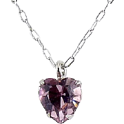WELL'S Sterling Silver & Pink Alexandrite Crystal JUNE Birthstone Pendant Necklace - Old Stock