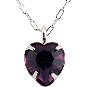 WELL'S Sterling Silver & Purple Amethyst Crystal FEBRUARY Birthstone Pendant Necklace - Old Stock