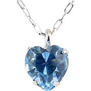 WELL'S Sterling Silver & Aquamarine Crystal MARCH Birthstone Pendant Necklace - Old Stock