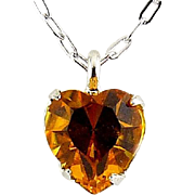 WELL'S Sterling Silver & Yellow Citrine Crystal NOVEMBER Birthstone Pendant Necklace - Old Stock