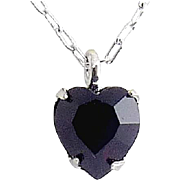 WELL'S Sterling Silver & Garnet Crystal JANUARY Birthstone Pendant Necklace - Old Stock