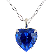 WELL'S Sterling Silver & Blue Sapphire Crystal SEPTEMBER Birthstone Pendant Necklace - Old Stock