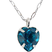 WELL'S Sterling Silver & Blue Zircon Crystal DECEMBER Birthstone Pendant Necklace - Old Stock