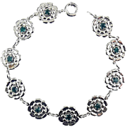 Vintage White Gold Filled Floral Links Bracelet with Emerald Rhinestones