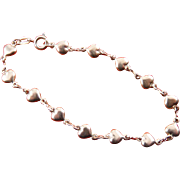 18K White Gold-Filled Puffy Hearts Line Bracelet