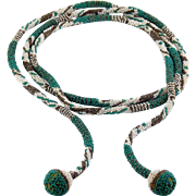 "Rare Wiener Werkstatte Art Deco Crocheted Micro Beaded 49"" Lariat Necklace- Maria Likarz"
