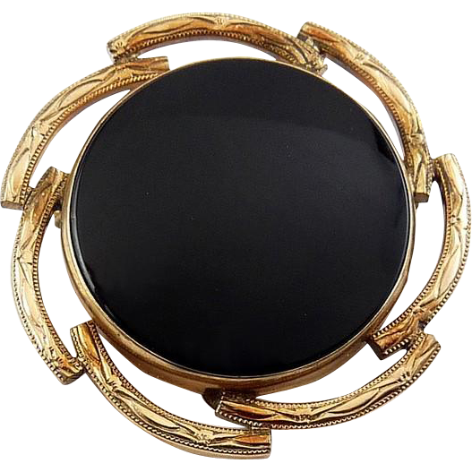 Winard Gold-Filled & Onyx Victorian Revival Round Pin