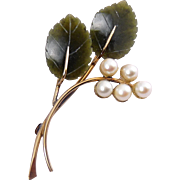 Winard Gold-Filled, Pearl & Neprhite Jade Grapes on Vine Pin - Orig. Box