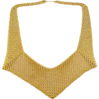 1980s Whiting & Davis Gold Mesh Pointed Collar Necklace with Box - Chain Link Rings, Exc. Cond