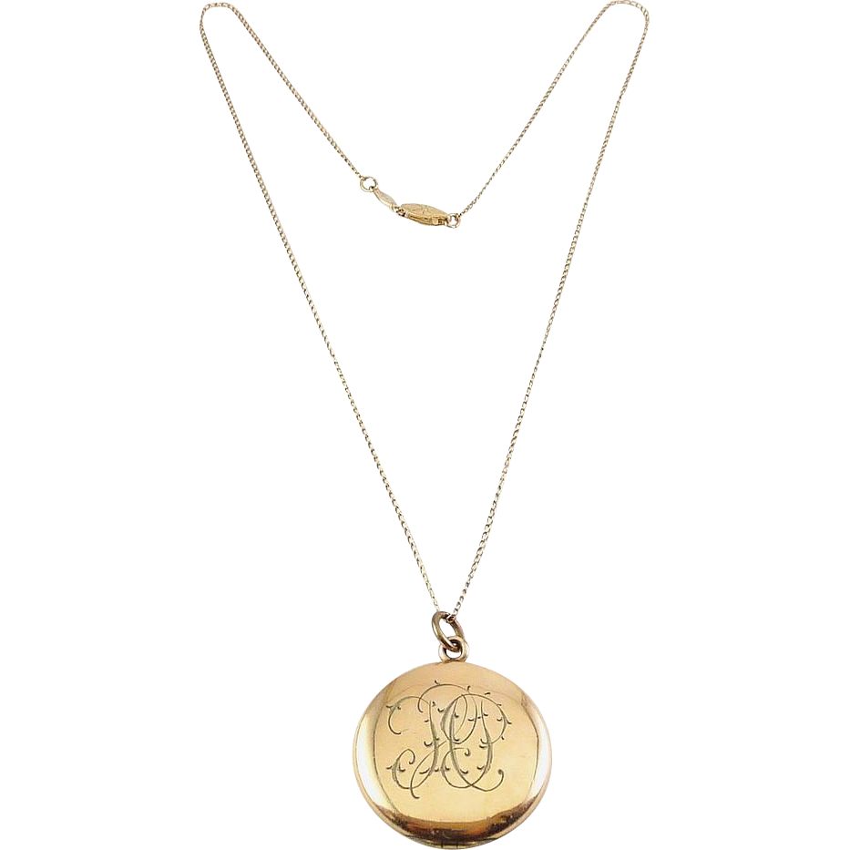 Antique W&H Gold Filled Round Locket with G.F. Necklace - Double Photos & Monogram