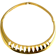 Yves St. Laurent 1980's Gold Tone Pierced Collar Necklace