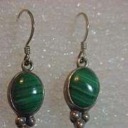 Sterling silver & Malachite Pierced Dangle Earrings Designer E Richards
