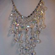 Necklace Bib Aurora  Borealis  & Rhinestone Stunning Large Long adjustable