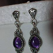 Sterling Silver & Amethyst   Pierced Post Long Dangle Earring