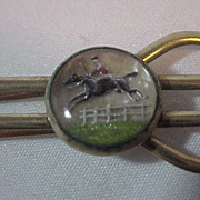 Equestrian Reverse Carved Intaglio Black Horse Jumping Fence Tie Bar