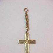 Pocket Watch Gold Cross  fob on Interlocking Chain Fob or Embellishment Spring Ring