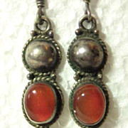 Sterling Silver 925 Pierced Long Earrings Carnelian Stone Southwestern Them