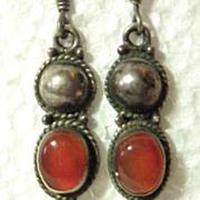 Sterling Silver 925 Pierced Long Earrings Carnelian Stone Southwestern Them