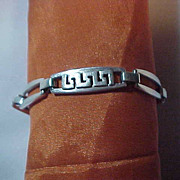 Sterling Silver 925 Link Bracelet Greek Key & Open Links