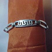 Sterling Silver 925 Link Bracelet Greek Key & Open Links