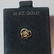 14K Yellow Gold Tie Tack Lapel Pin w/ Prong set Diamond