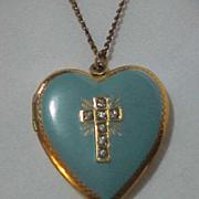 Heart Locket Golden Blue Enamel top Rhinestone Cross