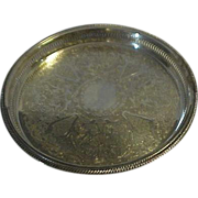 Very Large Round with Gallery edge Silver Tray by Leonard