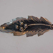 Sterling Silver Leaf  Berry Brooch Pin  Taxco Mexico  925 Signed RJP