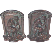 "PAIR Vintage  Bronze Tone  Cast  Iron  Bookend  RODIN'S "" THE THINKER "" Book ends Book end"