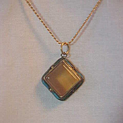 Outstanding Necklace Marked SK Pendant Amber Butterscotch  Beveled Stone Enamel Sides