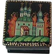 Russian Lacquer Hinged Small  box