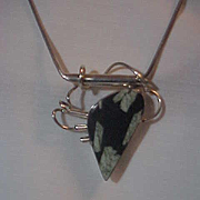 Abstract Sterling Pin Pendant  Jasper Gemstone on Sterling Coil Chain Necklace Free Form