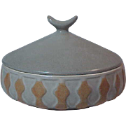 Haeger Mid Century Modernism Covered Bowl Dish Gray Brown