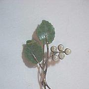 Winard 12K GF Spring Jade Stone  Leaves  Pearl Flowers Pin Brooch Vintage