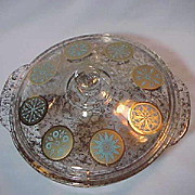 Fire King Georges Briard Covered Casserole 2 quart Gold and Turquoise Medallions Retro