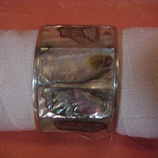 8 pc Set Napkin Rings Silver Abalone Mother of Pearl Mexico