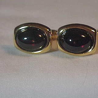 Pair Pierre Cardin Cufflinks Cuff Links Ruby Red Fronts Golden & Original Boxing