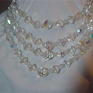 Aurora Borealis Crystal Bead Necklace Vintage Adjustable  Sparkle