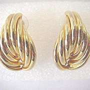 Large Golden Twisted Coil Pierced Earrings Glamorous Fancy Door Knockers Fashion