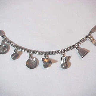 Charm Bracelet Mexico 7 Charms 925 Heavy  Hand Made Marked  Mar