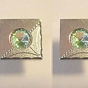 Watermelon Rhinestone Set in Square Etched Silver Cuff links Set