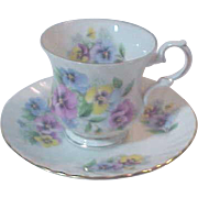 Cup & Saucer Fine bone China England Marked  Elizabethan Mix Color Pansy Beautiful