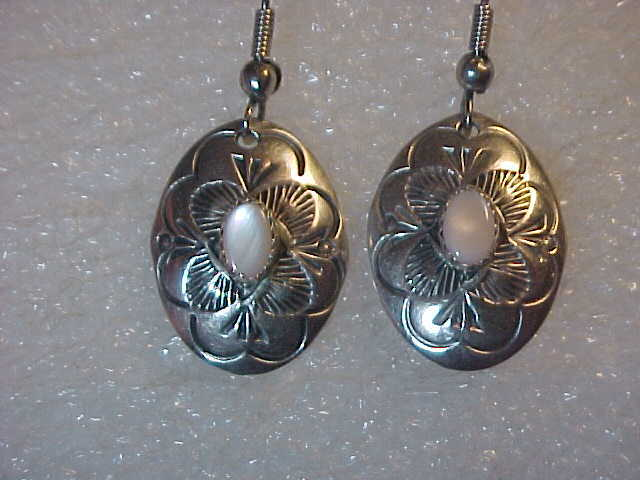 Vintage Native American Sterling Silver Earrings Dangle Signed LS