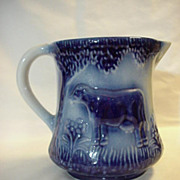 Large Pitcher Blue  off White Cream Tall Country Decor Vintage  Cow