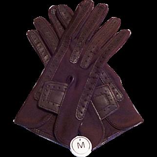 Deadstock Isotoner Driving Gloves Vintage 1980s Brown Medium