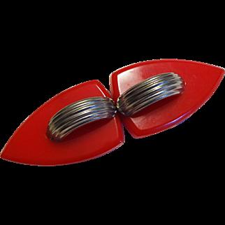 Art Deco Bakelite Belt Buckle Vintage 1930s Cherry Red Translucent