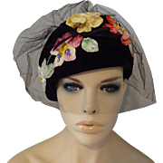 Vintage 1950s Cocktail Whimsy Hat Black Velvet Sugared Flowers Veil Kathy Exclusive